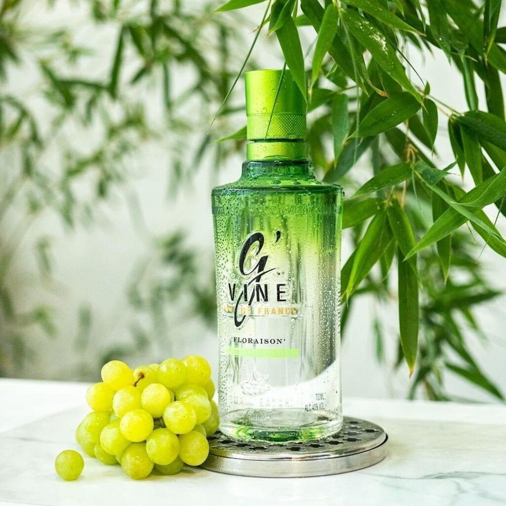 Billede af en Gvine gin med druer på et bord