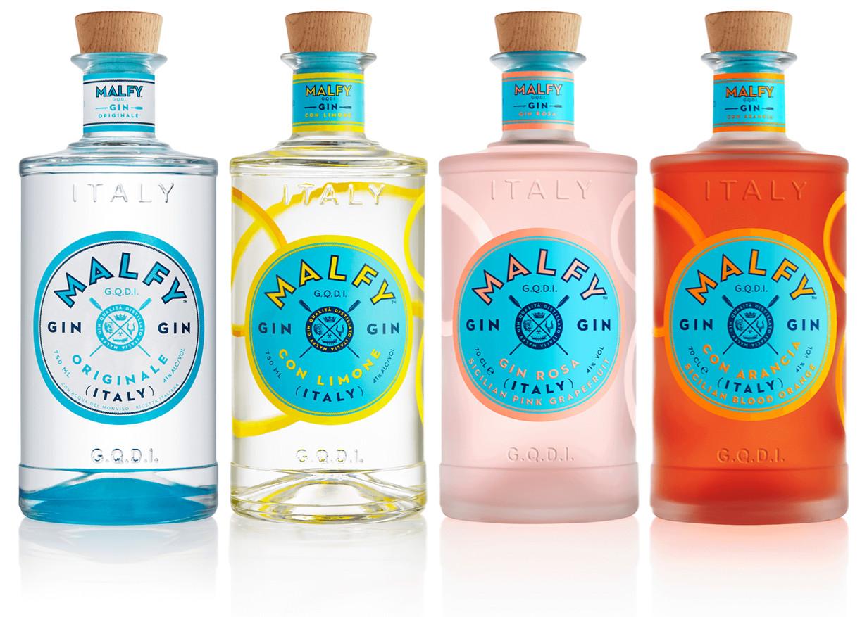 Billede af 4 varianter af Malfy Gin